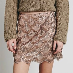 Free People Scalloped Sequin Rose Gold Skirt